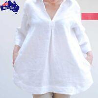 AU Women Cotton Linen Solid Lapel Blouse Casual Loose Long Sleeve V-Neck Plus