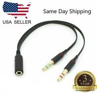 3.5mm Audio Mic Y Splitter Cable Headphone Adapter Female to 2 Male