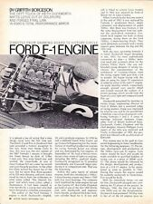 1967 FORD FORMULA 1 RACING ENGINE (F-1)  ~  ORIGINAL 2-PAGE ARTICLE