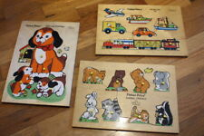 Vintage Fisher Price Vehicles Animal Friends Dog & Puppies Puzzle #508 511 519