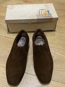 Church's Custom Grade Made in England Men's Brown Suede Slip-on Shoes, Size 65H