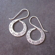 Earrings Hill Tribe Fine Silver Spiral Hook Ancient Hieroglyphs Design Jewelry