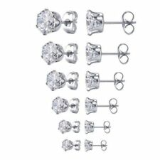 PAIR Surgical 316L Stainless Steel Stud Earrings Cubic Zirconia Round Men Women