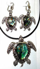 "Sea Turtle Abalone Shell Pendant Necklace Earring Set 18"" Cord Fast Shipping"