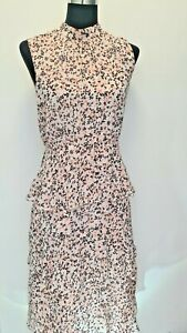WAREHOUSE Summer Floral Ruffle Tiered Midi  Dress, Dusty Pink  sizes 6-14