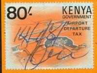 1977 Kenya Airport Departure Tax Bft:4 80/- Orange & Black. Fine Used Revenue.