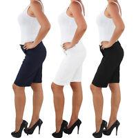 Damen Business Stoff Stretch Capri Kurze 3/4 Jeans Hose Shorts Bemuda Hüft Somme