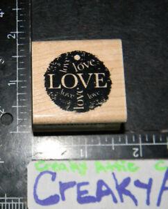 LOVE TAG CIRCLE RUBBER STAMP INKADINKADO 95118K CREAKYATTIC
