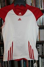 Adidas Tennis Clima Cool White w Red Sleeve Top Shirt S  NEW WITH TAGS  bin75