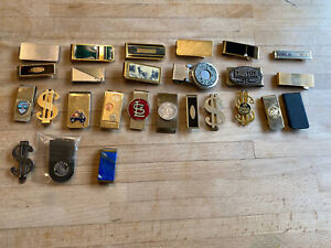 Large Lot Of 26 Vintage Money Clips Barlow Anson Taxco Vegas Sterling Tourism B