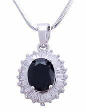 BELLISSIMO Trasparente Cristallo Austriaco Placcato rodio nero ovale stile