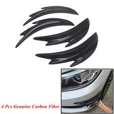 4 Pcs Real Carbon Finber Car SUV Front Bumper Splitter Shark Fin Spoiler Canards