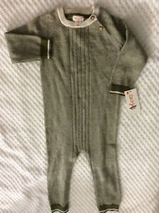 18 Month Boys' Olive Green & Cream Knit One Piece Outfit-NEW WITH TAGS!