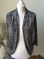 PER UNA Black Grey Print Loose Open Cardigan Jacket Size 16 Long Sleeve