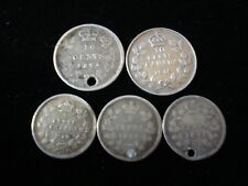 Canada 1874 1872 1891 1908 1918 Five Cents 10 Cents Silver Coin #BD6