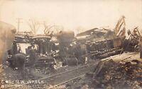 Real Photo Postcard C. and N.W. Railroad Train Wreck near Peoria Illinois~127719