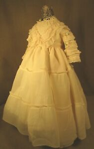 """Vintage Doll Dress for 18""""-19"""" Bisque Doll - Silky Cream Ruffles"""