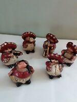 6 Vintage Mariachi Figurines, Chalkware, Handpainted, Mexico, Folk Art