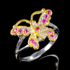 Fine Art Natural Ruby 925 Sterling Silver Ring Size 7.75/R110645