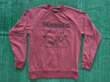 The Hundreds Long Sleeve Fleece Sweater Size L Drawing Lines Burgundy