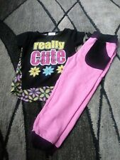 Real Love 2 piece short sleeve pink sweatsuit tracksuit girls size 4.
