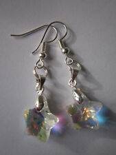 Drop / Dangle Earrings - Clear Sparkling Crystal Stars - Silver Plated
