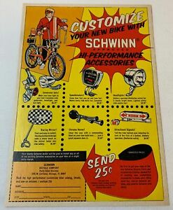1972 ad page ~ CUSTOMIZE YOUR SCHWINN WITH HI-PERFORMANCE ACCESSORIES