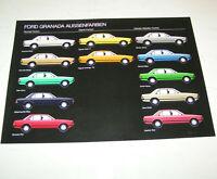 Prospekt / Broschüre Ford Granada Aussenfarben - Ausgabe 1977