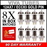 New Matched Octet (8) Reissue Genalex Gold Lion 12AX7 / ECC83 GOLD PIN Tubes SH