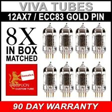 New Matched Octet (8) Reissue Genalex Gold Lion 12AX7 / ECC83 GOLD PIN Tubes SH