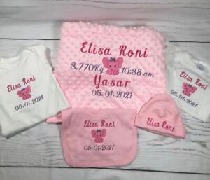 Personalised embroidered Baby gift set.Blanket-Hat-Babygrow-vest Bib boy or girl
