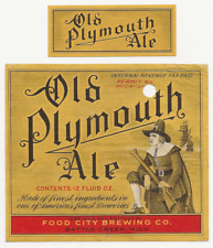 Food City Brewing Old Plymouth Ale label with neck Irtp Battle Creek Mi