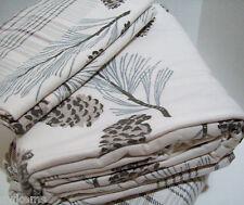 Cuddl Duds Heavyweight Pine Cone Cream Brown Plaid Flannel Queen Sheet Set New