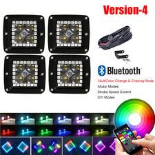 "4x 3"" RGB HALO CREE 4D LED Work Light CREE Fog OffRoad Spot Cube Pods Truck SUV"