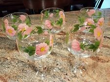 Set of five (5) Franciscan Desert Rose Wine Glasses 6.5 inches high