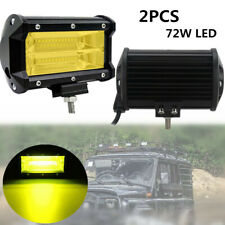 2X 72W Car Double Row Yellow LED Stri Light Work Off-road Maintenance Headlights