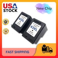 2PK Black Ink Cartridges for HP 63XL Deskjet 1110 1112 2130 Officejet 5255 5258
