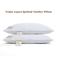 Duck Feather Pillows with Quilted Down Proof Pillow Case Double Layered Premium