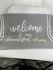 """Welcome To Our Beautiful Chaos Rug 20""""x30"""". Gray & White"""