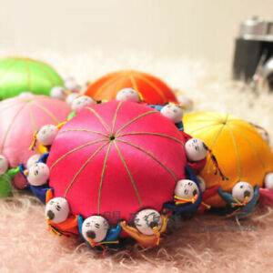 2PCS Chinese HANDMADE Silk Sewing Tool vintage pin Cushion with10 cute kids
