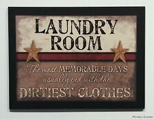 PRIMITIVE COUNTRY WOOD LAUNDRY ROOM SIGN HANDMADE INSPIRATIONAL HOME DECOR 0467