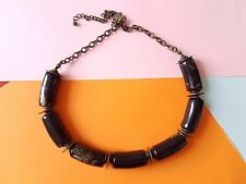 New Debenhams Chunky Black Tigers Eye Orange Marbled Gold Disc Choker Necklace