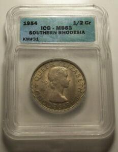 Rhodesia, 1954 Half Crown, 1/2 Crown. ICG MS 63 Half Crown. 1,200,000 Mintage