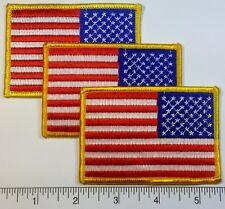 """3-pack: REVERSE American FLAG Embroidered Patch - 3.5 x 2.25"""" - Patriotic USA US"""