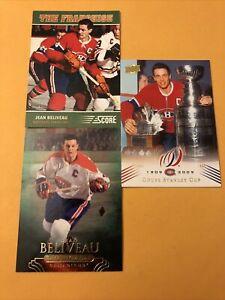 Jean Beliveau Montreal Canadiens 3 Card Lot Score The Franchise