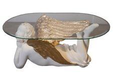 Engelstisch Ovaler Wohnzimmertisch Engelmotiv Engel Glastisch Couchtisch Tisch
