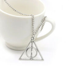 Silver Plated Harry Potter Necklace Deathly Hallows sign triangle circle Pendant