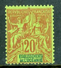 French  Polynesia 1900 Peace & Commerce 20¢ Red  Scott #10 Mint H97
