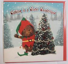Winter Wonderland Guinea Pig Elf Santa Hat Xmas Tree Snow Christmas card foil
