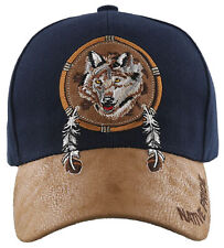 NEW! NATIVE PRIDE WOLF FEATHERS FAUX LEATHER BASEBALL CAP HAT NAVY
